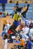 Alhaji Jeng competes in the Men's pole vault — Stock Photo