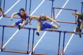 Borisov and Svoboda competes in the Men's 60 metres hurdles — Zdjęcie stockowe