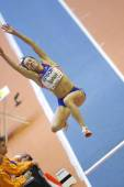 Denisa Scerbova competes the Qualification of Women's long jump — Stock Photo