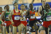 Arturo Casado (L),  Daniel Kipchirchir Komen (C) and Deresse Mekonnen (R)  competes in the Mens 1500m Final — Stock Photo