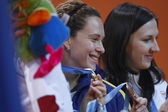 Fabiana Murer and  Monika Pyrek at the awards ceremony after the Pole Vault Final — Stock Photo