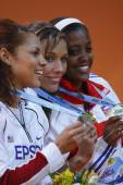 LoLo Jones (Gold medal), Candice Davis (Silver medal) and Anay Tejeda (Bronze medal) at Women's 60 metres hurdles — Stock Photo