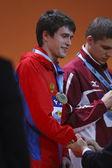 Evgeniy Borisov and Staņislavs Olijars with bronze medals in Men's 60 metres hurdles — Stock Photo