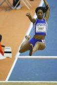 Eloyse Lesueur competes in the Women's long jump — Foto de Stock