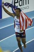 Bryan Clay celebrates the gold medal in  Mens Heptathlon — Foto Stock
