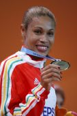 Naide Gomes celebrates the winning a gold medal at the Women's long jump — Foto de Stock