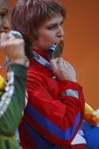 Irina Simagina with a bronze medal in  Women's long jump — Stock Photo