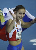 Yuliya Fomenko celebrating the second place in Women's 1500 metres — 图库照片