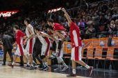 Crvena Zvezda players celebrates after the game — Stock fotografie
