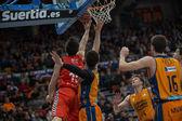 Bojan Dubljevic (B) and  Mirza Begic (F) in action — Stock Photo