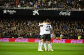 Valencia players celebrating a goal — Stock Photo