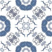 Flores de silueta simbólico fondo floral transparente, azul sobre fondo blanco. Vector — Vector de stock