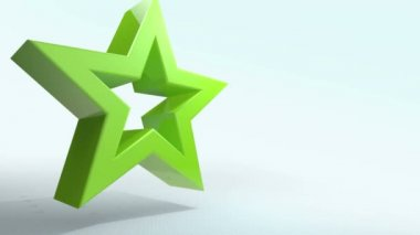 Animated green star transform into the screen — Stock Video