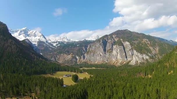 Volando sobre los Alpes, bosques en las montañas en Austria, Hinterstoder — Vídeo de stock