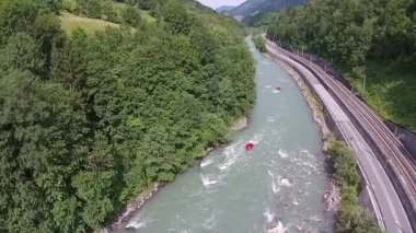 Rafting river in the mountains, alps austria — Stock Video