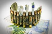 Composition with bullets and euros — Stock Photo