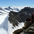 Climbing Mönch ridge on a sunny summer day, The Alps, Switzerland — Stockfoto