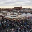 Marrakech, Morocco - April 20th of 2014: Main view of Djemaa el Fna square, a place recognized by UNESCO as a masterpiece of the Oral and Intangible Heritage of Humanity — Stock Photo #52411195