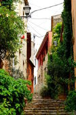 Flowers and old houses in the way upstairs to the middle age castle of Begur village, Catalonia, Spain — Stock Photo