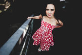 Dress in red polka dot — Stock Photo