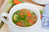 Vegetable soup in white soup bowl, served on wooden plate, — Photo