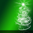 Green christmas card background, white christmas tree, stars, lights — Stock Photo #56374845