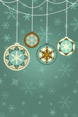 Retro Christmas Background with baubles, snowflakes, ornaments, space for own text — Stok fotoğraf
