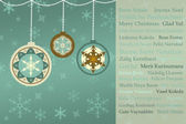 Retro Christmas Background with Baubles, Snowflakes, with Christmas Greetings in many languages — Stockfoto