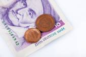Pfennig and Marks, former German banknote and coins, — Foto de Stock