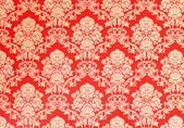 Baroque wallpaper, red with golden rose design — Stock Photo