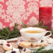 Herbal tea and christmas cookies with fir branch on wooden table — Stock Photo #59031505