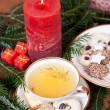 Herbal tea for christmas with elegant christmas decoration — Stock Photo #59032743