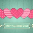Illustration for Valentines Day with five pink hearts and cupids arrow — 图库照片 #62640819
