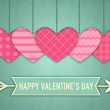 Illustration for Valentines Day with five pink hearts and cupids arrow — Stockfoto #62640819