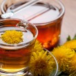 Herbal tea infusion of fresh dandelion, with honey and yellow blossoms — Stock Photo #71252103