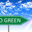 Eco concept illustration, go green message on green traffic sign, with cloudy sky backgroud — Stock Photo #71252915