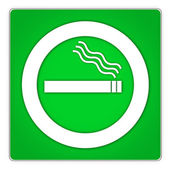 Green squarish smoking permitted sign on white background — Stock Photo