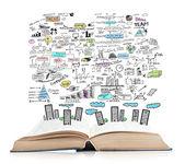 Business-plan und offenes buch — Stockfoto
