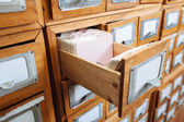 Library file cabinet drawer — Stock Photo