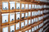 Library file cabinet drawers — Stock Photo