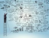 Businessman writing sketches — Stock Photo