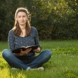 Girl reading holy Bible — Stock Photo #61118261