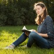 Girl reading holy Bible — Stock Photo #61118303