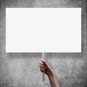 Gesture of hand holding a blank white paper — Stock Photo