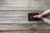 Woman hands on bible — Stock Photo