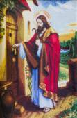 Jesus at the door of house gobelin — Stock Photo