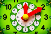 Green clock display with red arrows closeup — Stock Photo