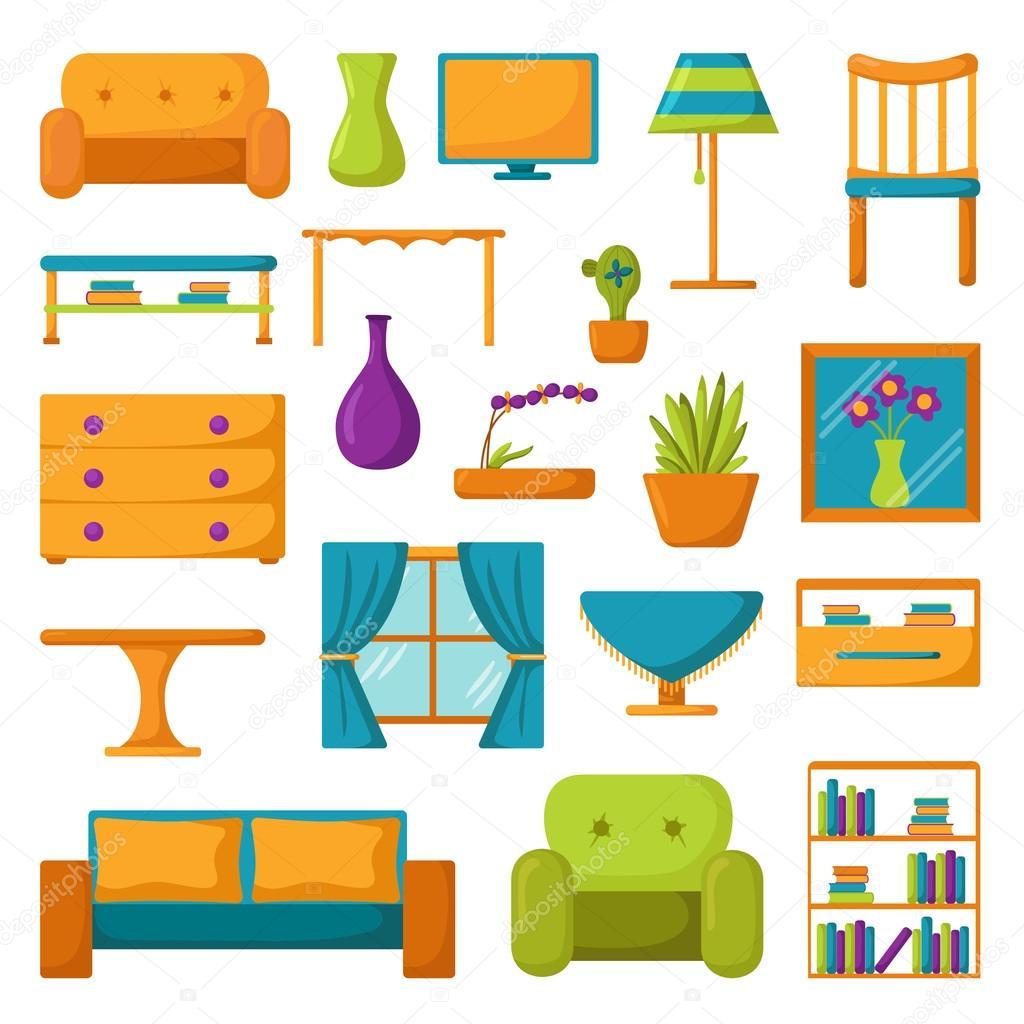 Living room ikoner interi r och hus m bler stock vektor for Articulos decorativos para casa