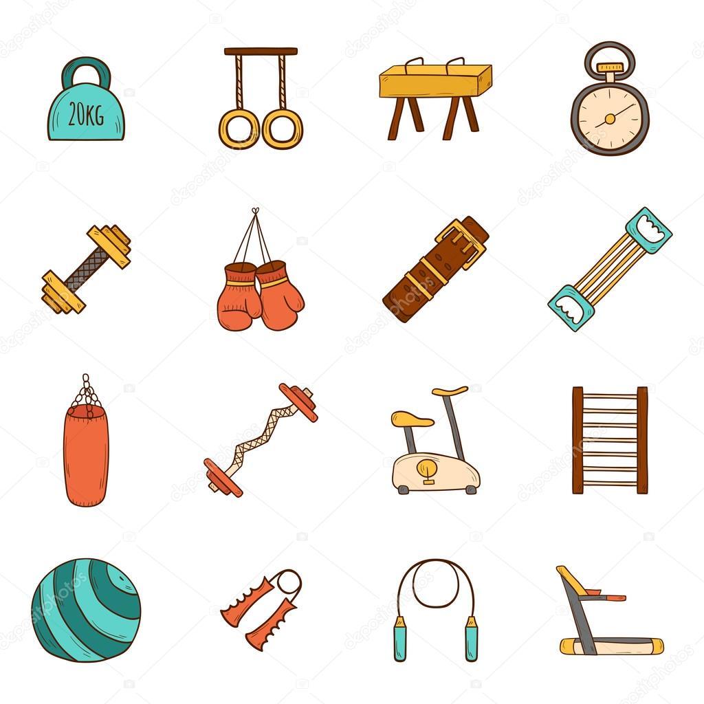 Gimnasio iconos de dibujos animados vector de stock - Imagenes de gimnasio ...