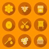 Set of flat beekeeping icons — Stock Vector